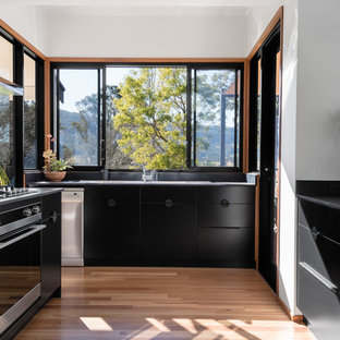 Large midcentury u-shaped eat-in kitchen in Other with a double-bowl sink, flat-panel cabinets, black cabinets, solid surface benchtops, window splashback, stainless steel appliances, medium hardwood floors, a peninsula and black benchtop.
