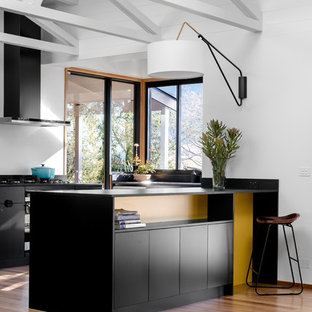 Inspiration for a large midcentury u-shaped eat-in kitchen in Other with flat-panel cabinets, black cabinets, solid surface benchtops, window splashback, stainless steel appliances, medium hardwood floors, a peninsula, black benchtop, white splashback and brown floor.