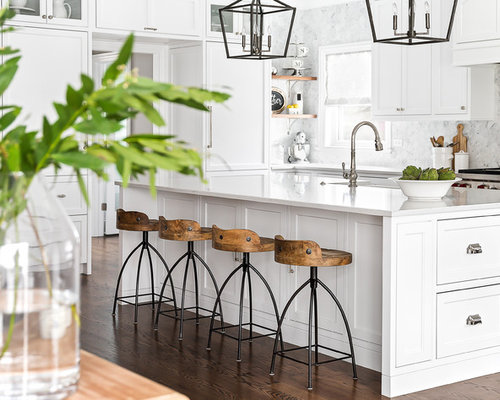 Large Transitional Eat In Kitchen Pictures   Example Of A Large  Transitional Medium Tone Wood