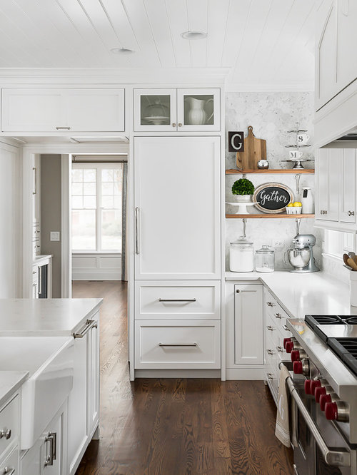 White Kitchen Remodeling Ideas Part - 39: Large Transitional Eat-in Kitchen Appliance - Example Of A Large  Transitional Medium Tone Wood