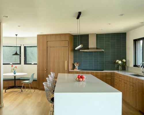 Midcentury Modern Eat In Kitchen Designs   Inspiration For A 1960s L Shaped  Medium Part 78