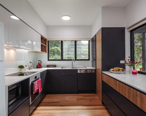 Small Contemporary U Shaped Kitchen In Brisbane With Dark Wood Cabinets,  White Splashback, Part 70