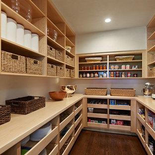Стильный дизайн: кухня в классическом стиле с открытыми фасадами, темным паркетным полом, кладовкой и светлыми деревянными фасадами - последний тренд