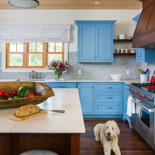 75 Most Popular Beach Style Kitchen With Blue Cabinets Design Ideas