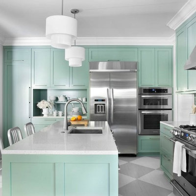 Inspiration for a contemporary painted wood floor kitchen remodel in Atlanta with stainless steel appliances, shaker cabinets, green cabinets, multicolored backsplash, a single-bowl sink and mosaic tile backsplash