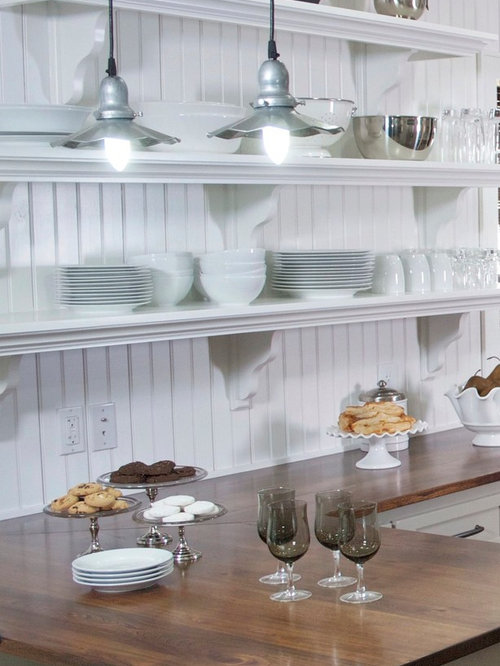 Beadboard Shelves Part - 45: Small Beach Style U-shaped Eat-in Kitchen Idea In Minneapolis With A  Farmhouse