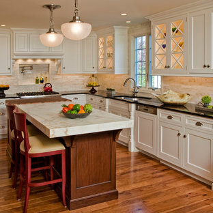 Inspiration for a timeless kitchen remodel in Philadelphia with beaded inset cabinets, marble countertops, a double-bowl sink, white cabinets and beige backsplash