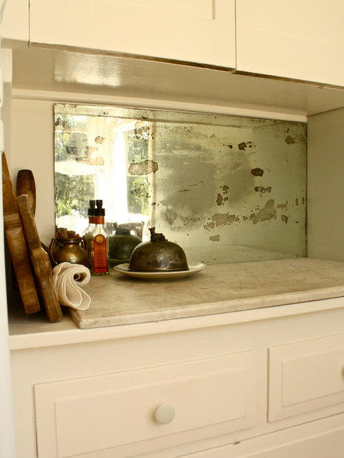 Antique Mirror Backsplash Kitchen
