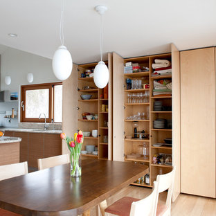 Example Of A Trendy Light Wood Floor Eat In Kitchen Design In Burlington  With Flat