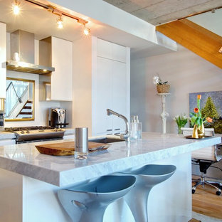 Contemporary kitchen remodeling - Example of a trendy kitchen design in Toronto with flat-panel cabinets and granite countertops