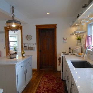 Photo of a shabby-chic style kitchen in Denver.