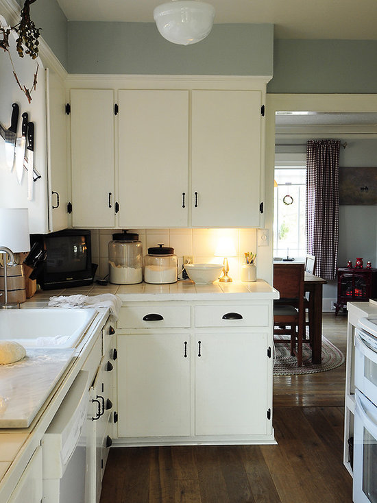 White And Black Traditional Kitchen black hardware white cabinets | houzz