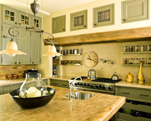 Warm Cozy Kitchen Design Ideas Remodels Photos With Green Cabinets