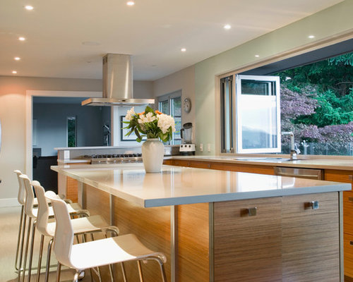 Example Of A Trendy Kitchen Design In Vancouver With Flat Panel Cabinets,  Medium Tone