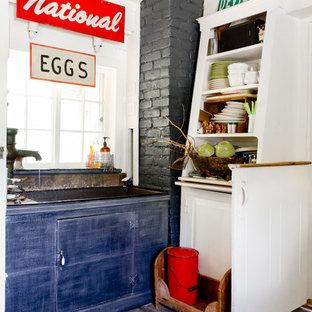 Farmhouse kitchen designs - Kitchen - cottage dark wood floor kitchen idea in New York with open cabinets and white cabinets