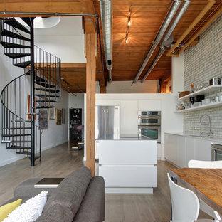 Idee per una cucina industriale con ante lisce, ante bianche e isola