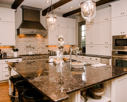 Whitewashed brick backsplash houzz for M kitchen world chop wash