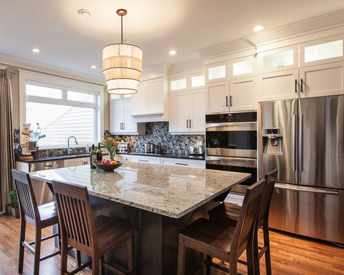 Alaska white granite white cabinet kitchen design ideas Rona kitchen cabinets reviews