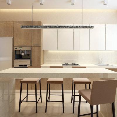 Mid-sized minimalist single-wall beige floor kitchen photo in Minneapolis with a drop-in sink, flat-panel cabinets, white cabinets, quartz countertops, beige backsplash, stone slab backsplash, stainless steel appliances and an island