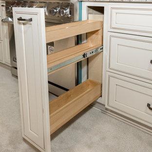 他の地域のトラディショナルスタイルのおしゃれな独立型キッチン (アンダーカウンターシンク、落し込みパネル扉のキャビネット、白いキャビネット、御影石カウンター、シルバーの調理設備、カーペット敷き、ベージュの床、マルチカラーのキッチンカウンター) の写真