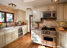 The cabinets. What is the color? Are they painted or stained?