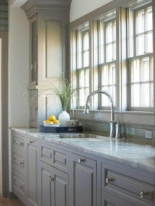 beach style kitchen designs example of a coastal kitchen design in boston - Gray Kitchen Ideas