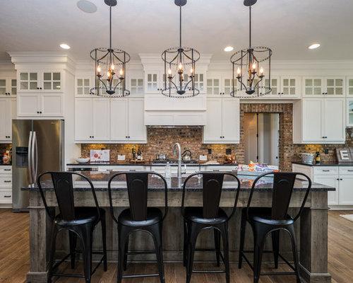 cuisine parall le avec une cr dence en brique photos et id es d co de cuisines. Black Bedroom Furniture Sets. Home Design Ideas