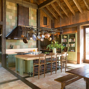 Country kitchen in San Francisco with wood benchtops, green cabinets and beige benchtop.