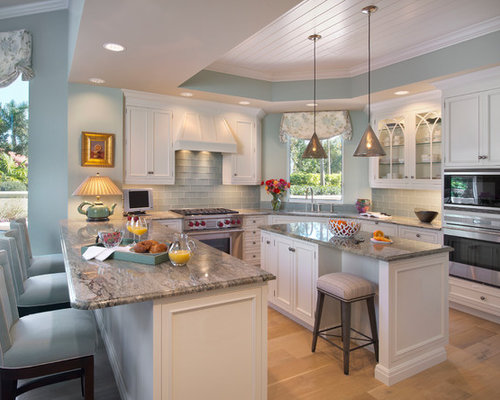 Blue Kitchen White Cabinets white blue kitchen | houzz