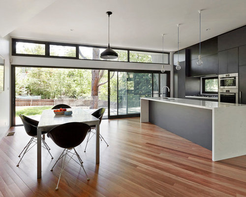 oriental home design. Contemporary galley medium tone wood floor eat in kitchen idea Melbourne  with flat Oriental Home Design Houzz