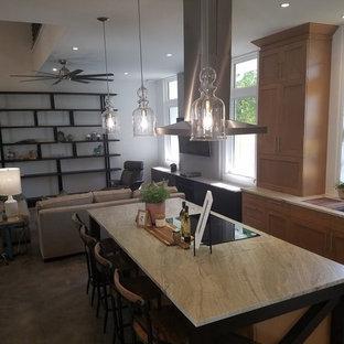 オーランドのシャビーシック調のおしゃれなキッチン (一体型シンク、コンクリートの床) の写真