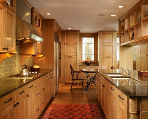 Open Concept Kitchen   Large Contemporary Galley Medium Tone Wood Floor  Open Concept Kitchen Idea In