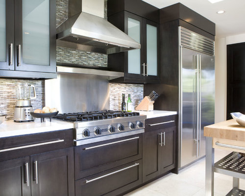 Inspiration For A Contemporary Kitchen Remodel In Los Angeles With Glass Front  Cabinets, Dark Part 47