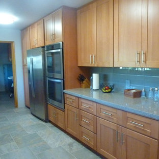 Natural Beech Wood Shaker Galley Refrigerator Wall After