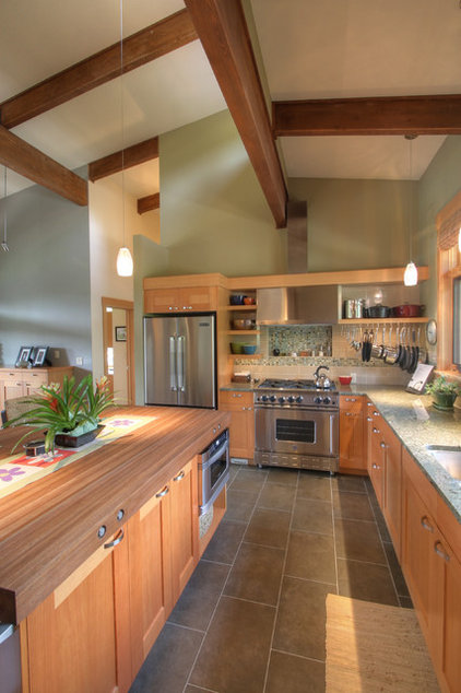Transitional Kitchen by Copeland Architecture & Construction Inc