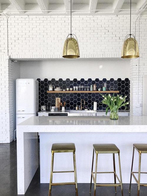 Navy Blue Hexagon Kitchen Backsplash