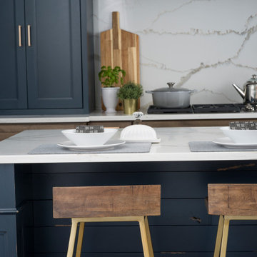 Navy Blue Modern Farmhouse Kitchen Island with Shiplap Details and Decorative Co