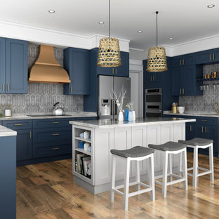 Navy Blue Shaker with White Island Kitchen Cabinets