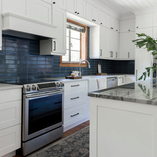 Blue Brick Kitchen Backsplash