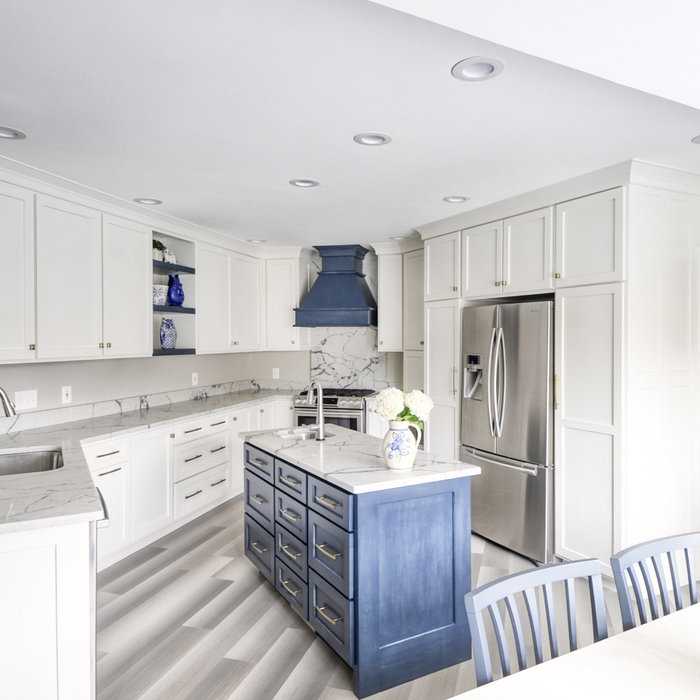 Navy Stained Island, Hood & Floating Shelves in White Kitchen off Family Room