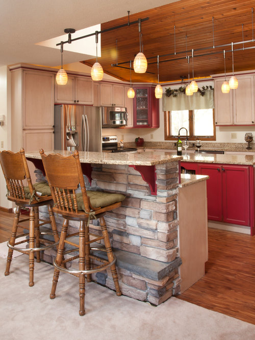 Large Rustic Open Concept Kitchen Ideas   Example Of A Large Mountain Style  L Shaped Part 98