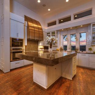 オースティンの大きいトランジショナルスタイルのおしゃれなキッチン (ガラス扉のキャビネット、白いキャビネット、亜鉛製カウンター、シルバーの調理設備の、濃色無垢フローリング、白いキッチンパネル、サブウェイタイルのキッチンパネル、ダブルシンク、茶色い床、茶色いキッチンカウンター) の写真