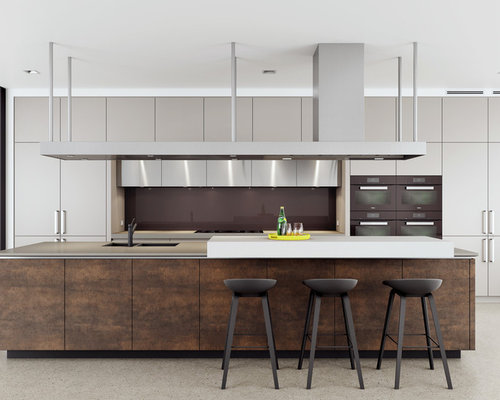 Industrial Kitchen Design Ideas, Remodels & Photos with Beige Cabinets