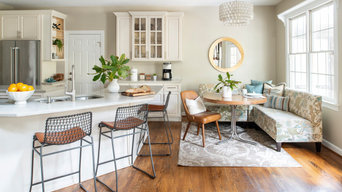 Neutral kitchen with green accents