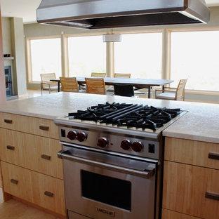 オタワのアジアンスタイルのおしゃれなキッチン (フラットパネル扉のキャビネット、ライムストーンカウンター、シルバーの調理設備の、ライムストーンの床) の写真