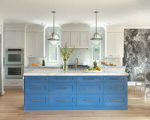 Example Of A Large Transitional Light Wood Floor Eat In Kitchen Design In  St Louis Part 72
