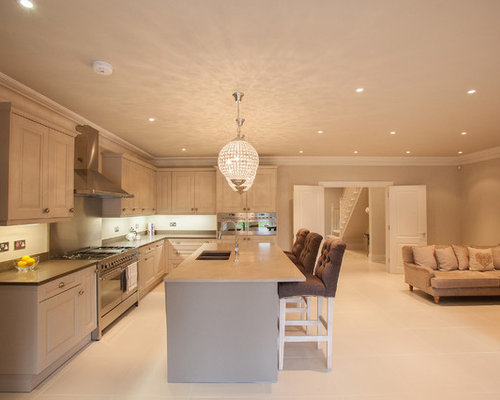 Traditional L Shaped Beige Floor Open Concept Kitchen Idea In Surrey With An Undermount Sink