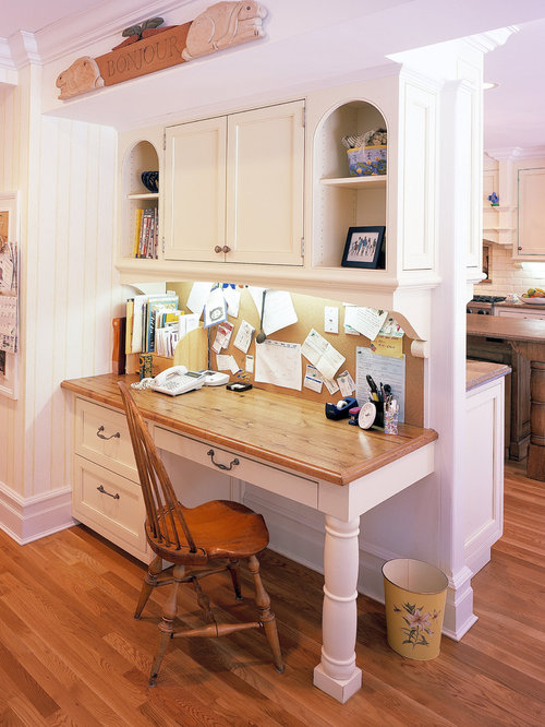 Nice Desk In Kitchen Design Ideas Part - 3: Large Elegant Medium Tone Wood Floor Kitchen Photo In New York With Wood  Countertops, Shaker