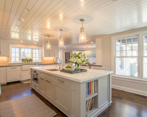 off white kitchen cabinets. Transitional kitchen remodeling  l shaped medium tone wood floor and brown Off White Kitchen Cabinets Houzz