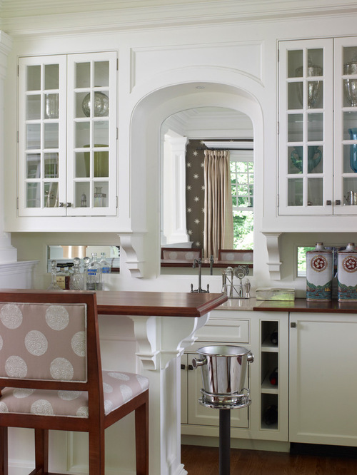Kitchen pass through houzz for Arch kitchen cabinets